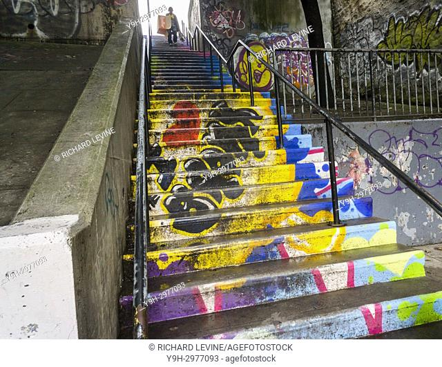 A decorated step street in the Bronx borough of New York on Sunday, September 3, 2017. Due to the hilly nature of Upper Manhattan and Western Bronx their are a...