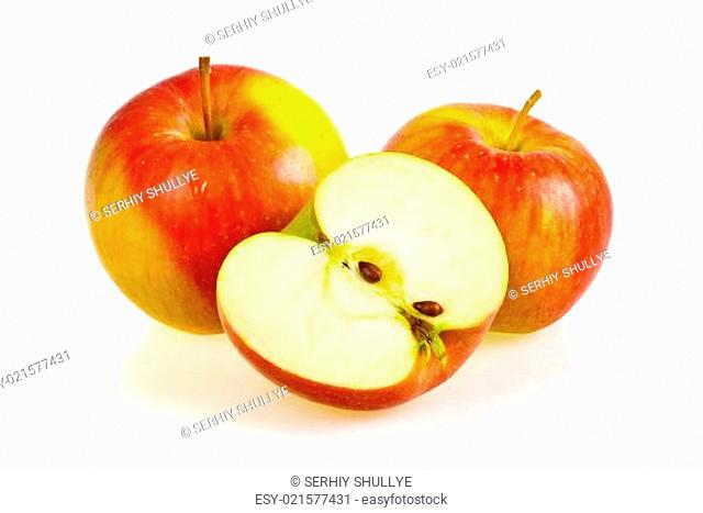 Ripe red apple fruits isolated on white