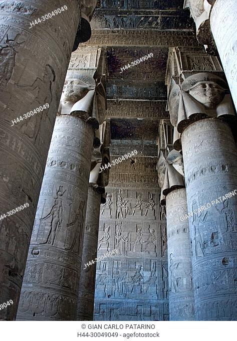 Egypt,Dendera,Ptolemaic temple of the goddess Hathor.View of hypostyle hall