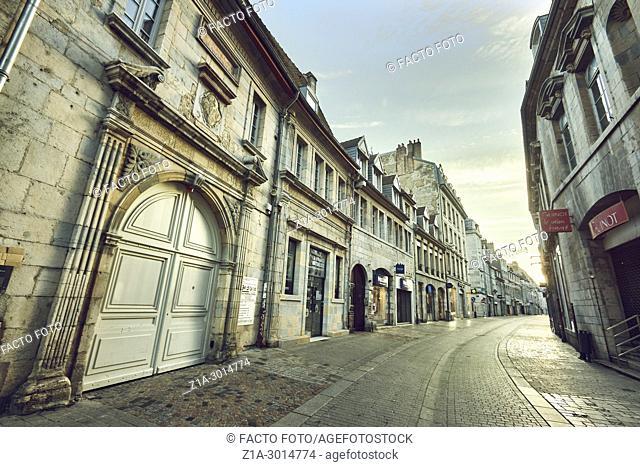 Grande-Rue (main street) of Besançon. Doubs. Bourgogne-Franche-Comte. France