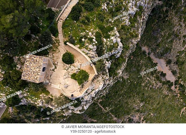 Aerial photography of the viewpoint of Ricardo Roca in Estellencs, Mallorca, Balearic Islands, Spain