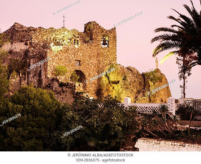 Hermitage virgen de la Peña. White village of Mijas Pueblo. Malaga province Costa del Sol. Andalusia southern Spain. Europe