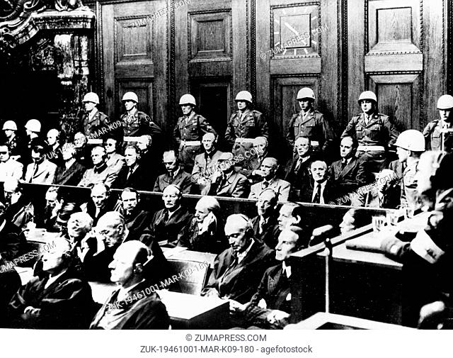 Oct. 1, 1946 - Nuremberg, Germany - Some of the leading Nazis seen seated in the dock at Nuremberg during the final session of the greatest war trial in history