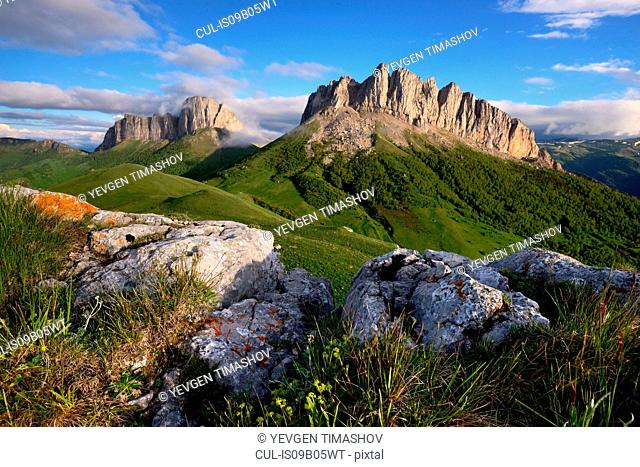 Rocks and Acheshboki (Devil's Gates) mountains, Bolshoy Thach (Big Thach) Nature Park, Caucasian Mountains, Republic of Adygea, Russia
