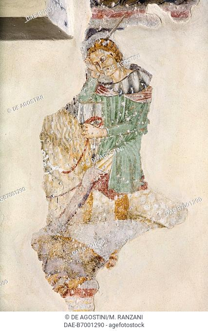 St George killing the Dragon, detail from frescoes in the Oratory of St Peter, Campione d'Italia, Lombardy. Italy, 14th century