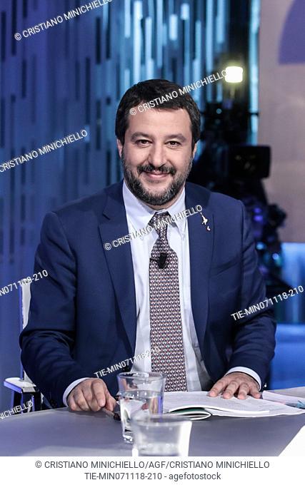 Italian Minister of Interior Matteo Salvini during the tv show Otto e Mezzo in Rome, ITALY-07-11-2018