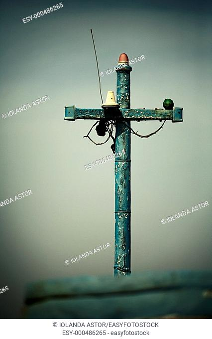 Mast in the form of a cross, a fishing boat on the beach of San Miguel del Cabo de Gata, Almería, Nature