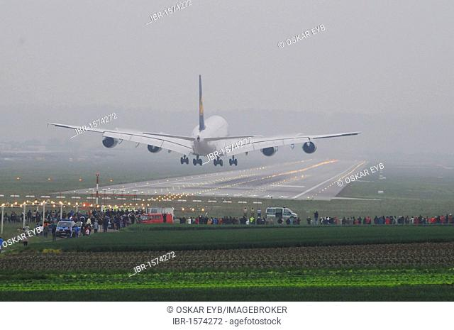 Lufthansa Airbus A380-800, registration D-AIMA, unique visit, landing in Stuttgart Airport, Stuttgart, Baden-Wuerttemberg, Germany, Europe