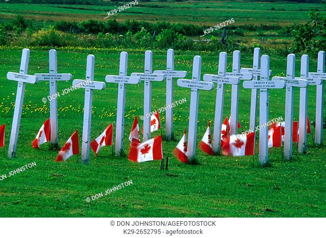 Military graves with Canadian flags, Stonehaven, NB, Canada