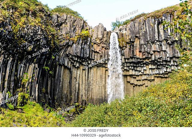 Waterfall Svartifoss in south Iceland