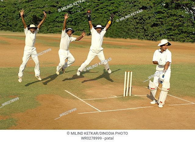 Indian fielders and wicketkeeper appealing for batsman out in cricket match MR705H705J705K705L