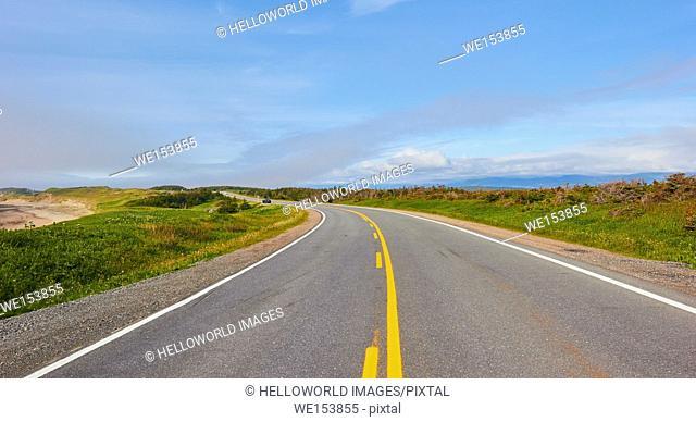 Road running through Gros Morne National Park a UNESCO world heritage site, Newfoundland, Canada