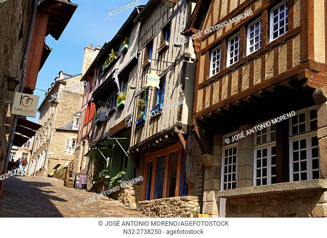 Dinan, Rue de Jerzual, Old Town, Bretagne, Brittany, Côtes d'Armor Department, Chateulin distict, France