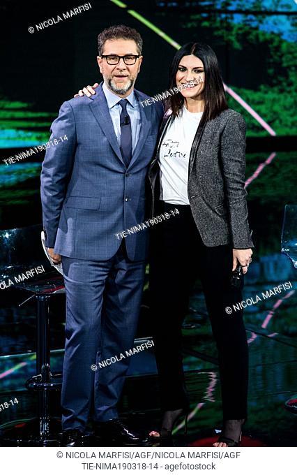 Tv presenter Fabio fazio, the Italian singer Laura Pausini at tv show Che tempo che fa, Milan, ITALY-18-03-2018