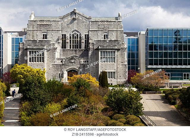 Contrast of architectural styles on the campus of UBC, Vancouver