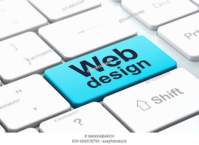 SEO web development concept: computer keyboard with word Web Design, selected focus on enter button background, 3d render