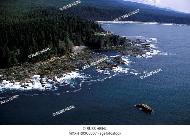 Carmanah Lighthouse & sealions, Vancouver Island, British Columbia, Canada