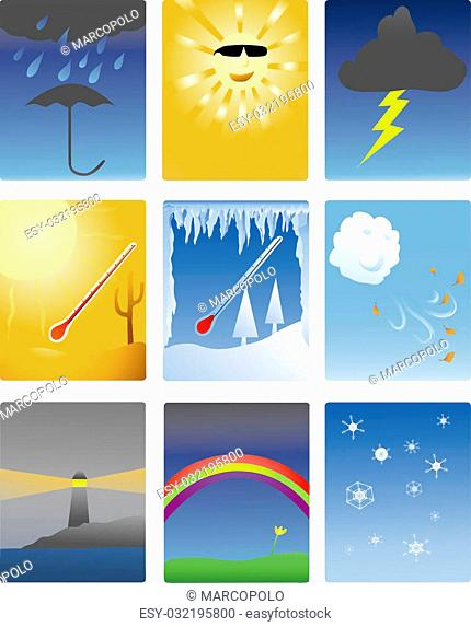 icons of different types of weather phenomena
