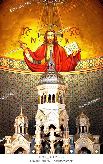 Interior Saint Peter and Paul Catholic Church Completed 1924 San Francisco California. Christ the Pantocrator, Christ the All Powerful