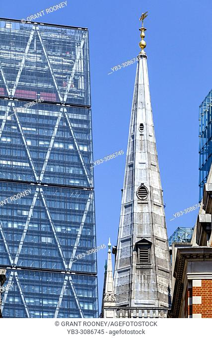 The Leadenhall Building, also known as The Cheesegrater and nearby Church Spire, London, England