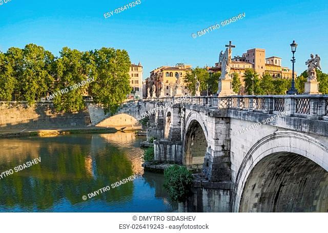 Saint Angel Bridge at sunset. Rome, Italy