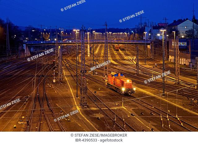 A lone locomotive running in the freight train depot, Hagen, Ruhr District, North Rhine-Westphalia, Germany, Europe