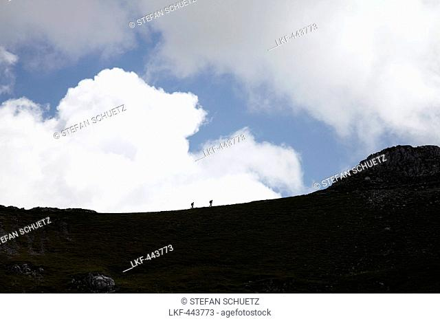 Hikers passing Karwendel mountain crest, Mittenwald, Bavaria, Germany