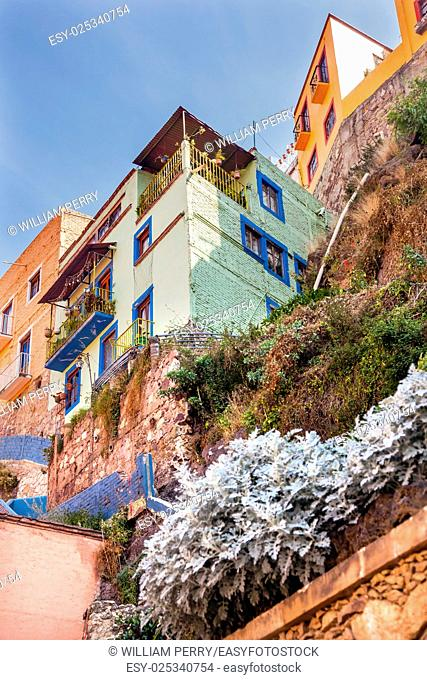 Many Colored Green Blue Pink Houses of Guanajuato Mexico