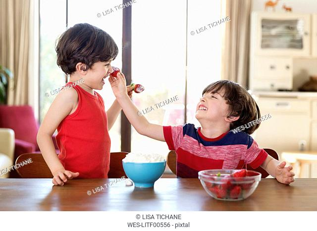 Laughing twin brothers playing with strawberries at home