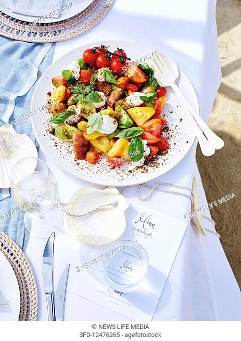 Heirloom tomato, basil and sheep's yoghurt salad