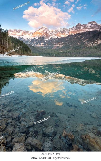 Lake Tovel at sunrise Europe, Italy, Trentino Alto Adige region, Trento district, Tuenno city, Non valley