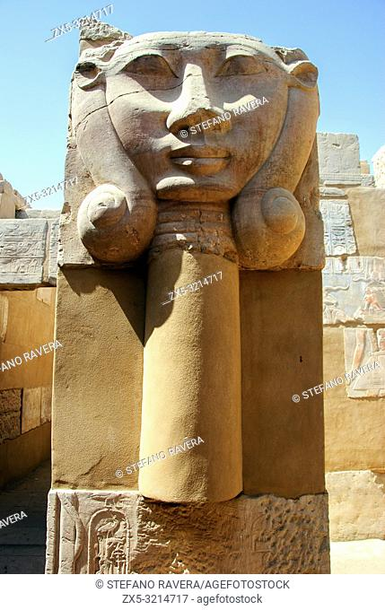 The goddess Hathor with lateral ringlets. Column from the temple of Khnum in Elephantine Island - Aswan, Upper Egypt