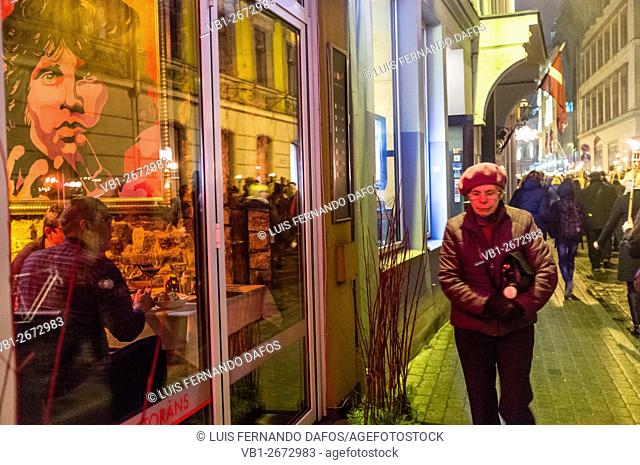Night street scene at Riga, Latvia
