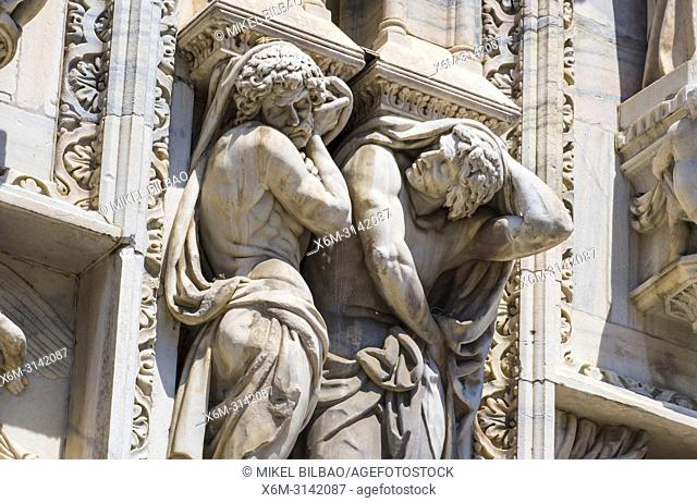 Milan Cathedral (facade detail). Milan, Lombardy, Italy, Europe