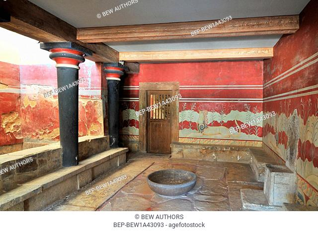 The hall of the throne in the Minoan Palace of Knossos, Heraklion, Crete, Greece