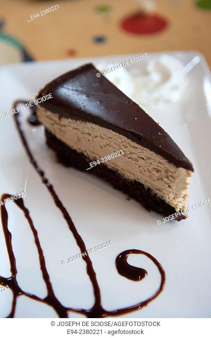 A slice of a chocolate cake dessert on a plate