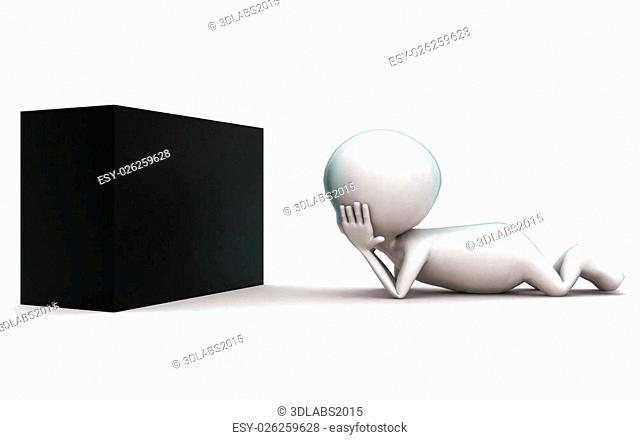 3d man wondering at a black box concept in white isolated background , side angle view
