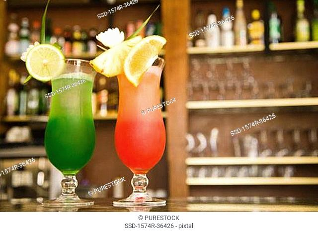 Tropical drinks on a table in a bar, Papeete, Tahiti, French Polynesia