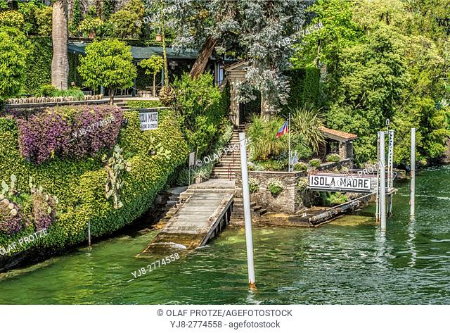 Shipping pier at Isola Madre, Lago Maggiore, seen from the lakeside, Piemont, Italy