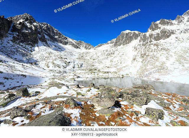 View of the Prostredne Spisske pleso and Ladovy stit in Mala Studena dolina, High Tatras, Slovakia