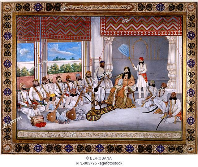 Muhammad 'Abd al-Rahman, Nawab 'Abd al-Rahman in his court in hot weather with various musicians and courtiers. Opaque watercolour