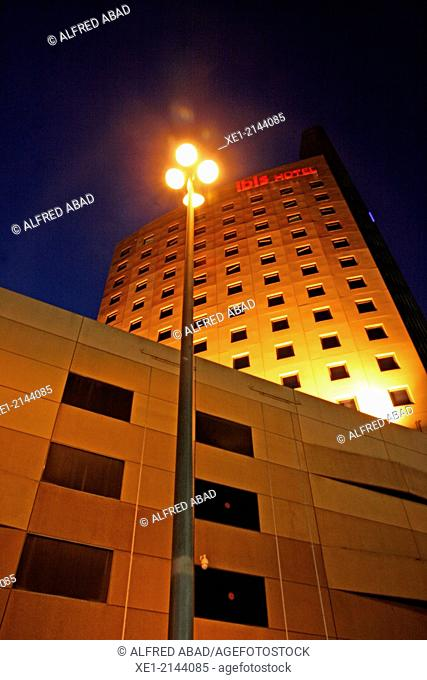 Streetlight and Hotel Ibis at night, Can Drago, Barcelona, Catalonia, Spain