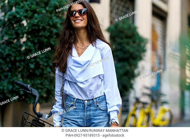 Chiara Totire posing outside of the Dolce & Gabbana runway show during Milan Fashion Week - Sept 24, 2017 - Photo: Runway Manhattan/Grace Lunn ***For Editorial...