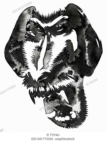 black and white painting with water and ink draw monkey illustration