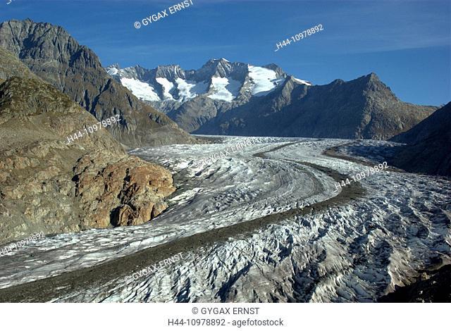 Switzerland, Europe, Wallis, Alps, Riederalp, Landscape, Mountain, autumn, clouds, Aletschgletscher, glacier