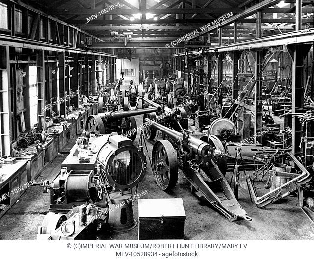 Interior of a workshop at the Salt River Works, near Cape Town, South Africa, where 4.7 inch (120 mm calibre) long-range guns and their carriages were built and...