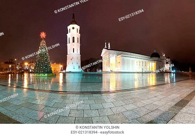 Vilnius cathedral at christmas night. Lithuania, Europe