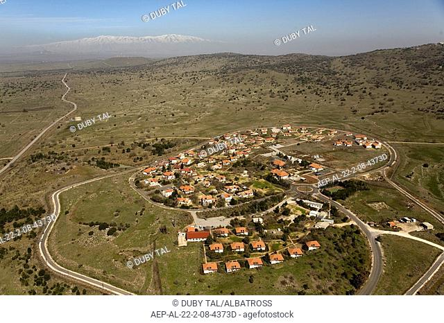 Aerial photograph of the village of Alony Habashan in the central Golan Heights