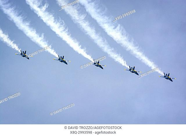 The United States Navy precision flying team, the Blue Angles perform over the skies of Annapolis, Maryland