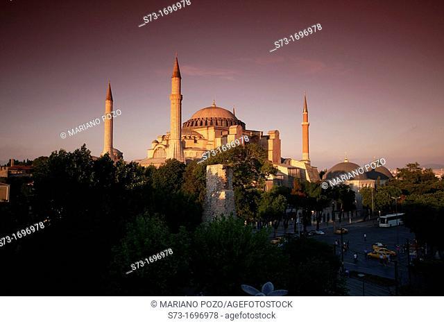 Exterior of Saint Sophia Church at sunset , Istanbul, Turkey